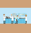 scientists working research in chemical lab vector image vector image