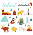 set iceland symbols and tourist attractions vector image vector image