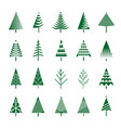 set of green christmas trees and vector image