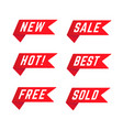 set red promotional ribbons vector image vector image