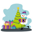 snowman with gift and pine tree decoration vector image vector image