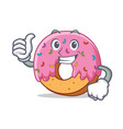 thumbs up donut character cartoon style vector image vector image