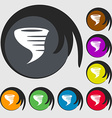 Tornado icon Symbols on eight colored buttons vector image