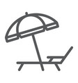umbrella and sun lounge line icon travel tourism vector image