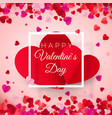 valentines day postcard two big hearts in white vector image
