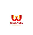 wellness medical center letter w icon vector image vector image