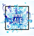 winter sale banner with blue watercolor bouquet vector image vector image