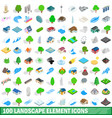 100 landscape element icons set isometric style