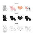 an unrealistic cartoonblackoutline animal icons vector image vector image
