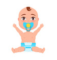 baby infant in diaper pacifier at mouth stretches vector image vector image