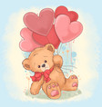 bear tedy holds a heart love balloons vector image vector image