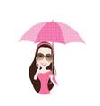 beautiful woman with umbrella polka dots vector image