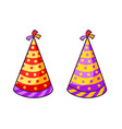 birthday striped colorful caps vector image
