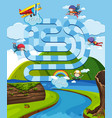 boardgame design template with airplane and vector image vector image