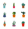 cacti icon set flat style vector image