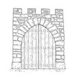 cartoon of stone medieval decision gate closed vector image