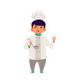child boy cooks and tastes food flat cartoon vector image