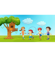 Children skipping rope in the park vector image