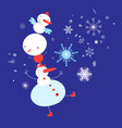 christmas card dancing snowmen on a blue vector image vector image