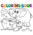 coloring book cheerful elephants vector image
