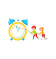cute girl and boy playing with giant clock vector image