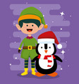 elf and penguin to celebrate merry christmas vector image vector image