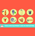 firefighting poster depicting tools and equipment vector image vector image