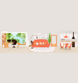 flat set home living and work interiors vector image vector image