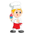 Funny cartoon chef showing delicious cake