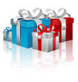Gift Boxes - 3D Blue and Red Gift Box Set Isolated vector image vector image