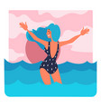 girl in swimsuit standing in sea at sunset summer vector image vector image