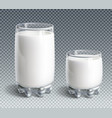 glass of milk on transparent background vector image vector image