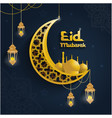 golden ornate with crescent and lantern vector image vector image