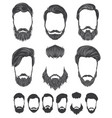 hairstyle and beard hipster fashion set vector image