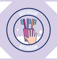 hand with toothbrushes foam clean badge bathroom vector image vector image