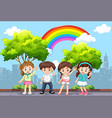 happy children in the park with rainbow in sky vector image