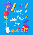 happy teachers day promo blue vector image