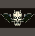 horned skull with bat wings vector image