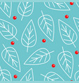 merry christmas seamless pattern white line leaf vector image