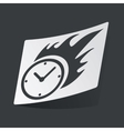 Monochrome burning clock sticker vector image vector image