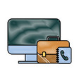 office computer business briefcase book telephone vector image vector image