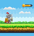 pixel-game character pixelated natural landscape vector image vector image