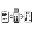 pos terminal confirms the payment by smartphone vector image vector image