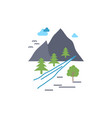rocks tree hill mountain nature flat color icon vector image