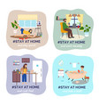 set people images people at home use laptops vector image vector image