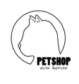 silhouette kitti pet shop sign vector image vector image