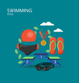 swimming pool flat style design vector image vector image
