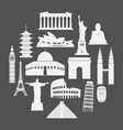 travel landmarks icon set in paper style vector image