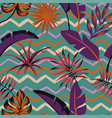 tropical leaves abstract color seamless zigzag vector image