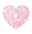 valentine day line icon heart design vector image vector image